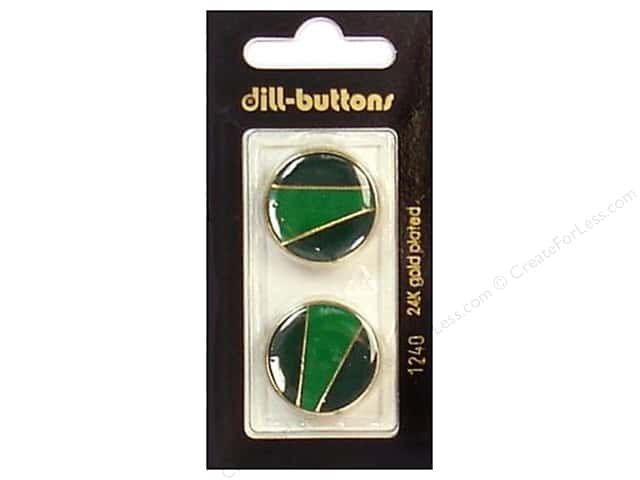 Dill Shank Buttons 7/8 in. Enamel Green/Gold #1240 2pc.