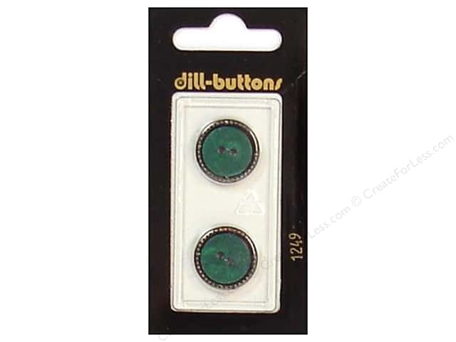 Dill 2 Hole Buttons 11/16 in. Dark Green/Gold #1249 2pc.