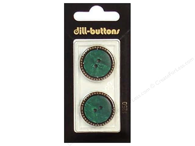 Dill 2 Hole Buttons 7/8 in. Dark Green/Gold #1250 2pc.