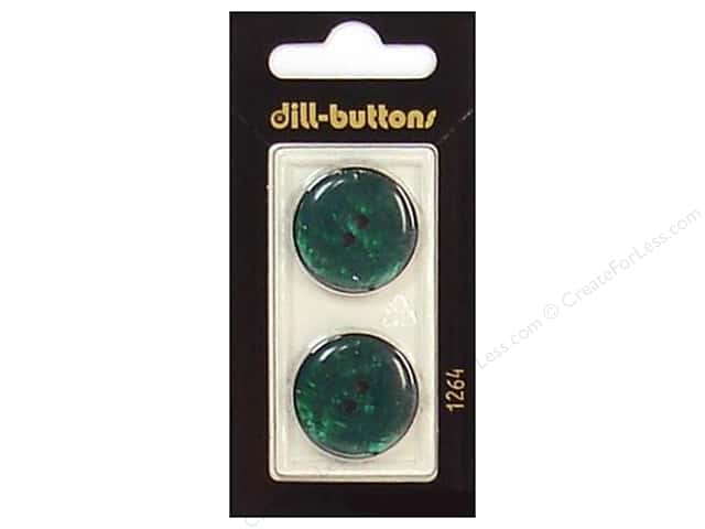 Dill 2 Hole Buttons 7/8 in. Dark Green #1264 2pc.