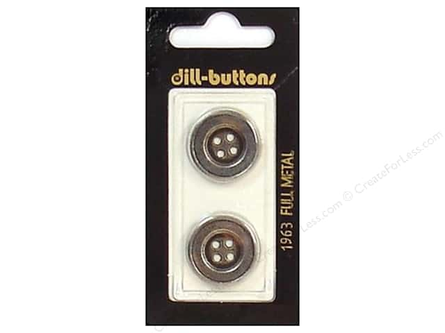 Dill 4 Hole Buttons 13/16 in. Antique Silver Metal #1963 2pc.