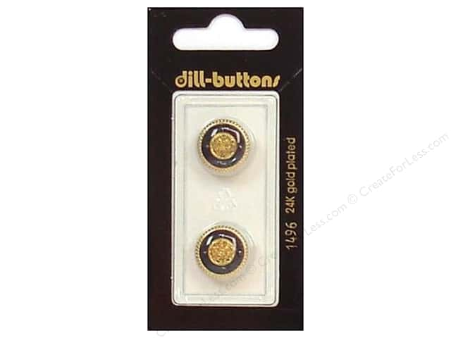 Dill Shank Buttons 5/8 in. Enamel Navy/Gold #1496 2 pc.