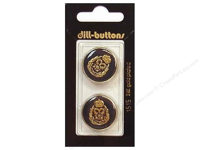 Dill Shank Buttons 7/8 in. Enamel Navy/Gold #1515 2pc.