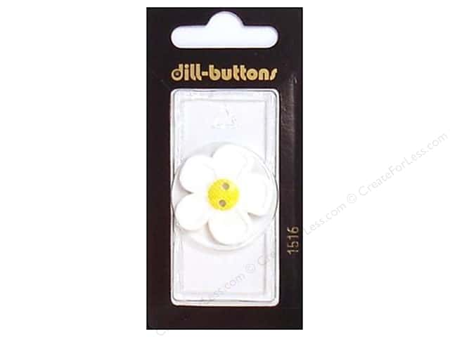 Dill 2 Hole Buttons 1 1/8 in. White Flower #1516 1pc.