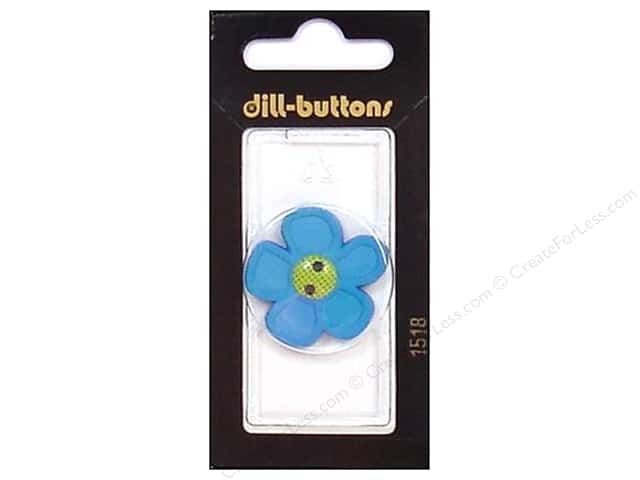 Dill 2 Hole Buttons 1 1/8 in. Blue Flower #1518 1pc.
