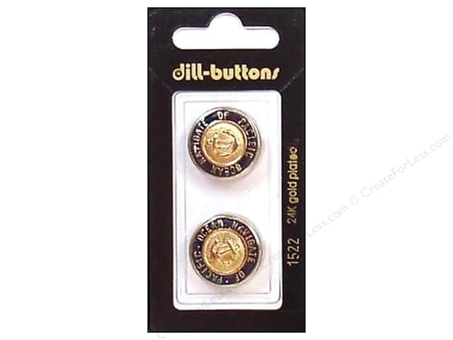 Dill Shank Buttons 13/16 in. Enamel Navy/Gold #1522 2pc.