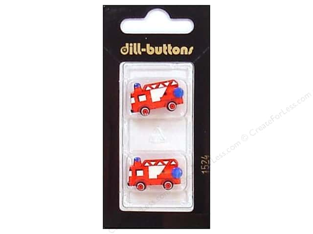 Dill Shank Buttons 7/8 in. Red Fire Truck #1524 2pc.