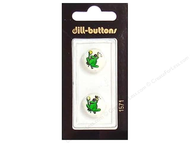 Dill Shank Buttons 5/8 in. Green Frog Prince #1571 2pc.