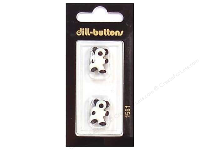 Dill Shank Buttons 11/16 in. Black/White Bear #1581 2pc.