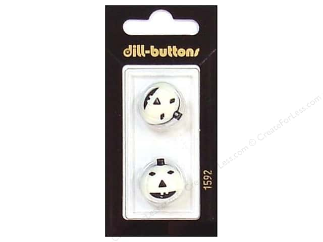 Dill Shank Buttons 11/16 in. White/Black Pumpkin #1592 2pc.