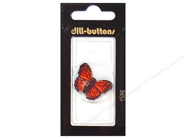 Dill 2 Hole Buttons 1 1/8 in. Red Butterfly #1596 1pc.