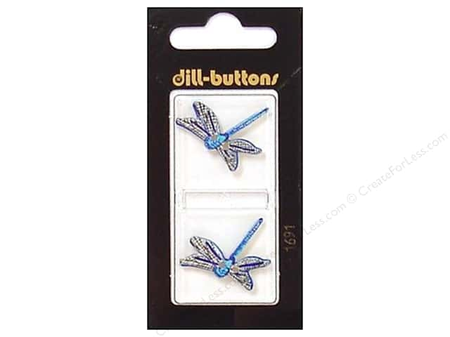 Dill Shank Buttons 1 in. Blue Dragonfly #1691 2pc.