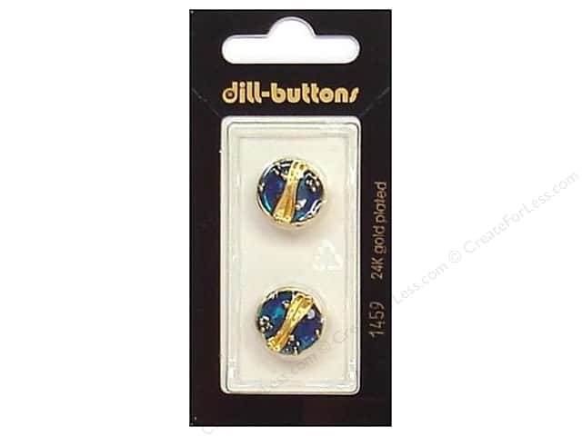 Dill Shank Buttons 5/8 in. Enamel Blue/Gold #1459 2pc.
