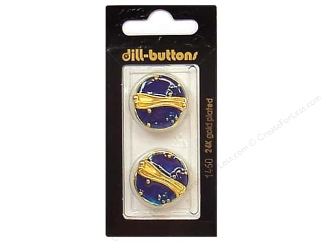 Dill Shank Buttons 7/8 in. Enamel Blue/Gold #1460 2pc.