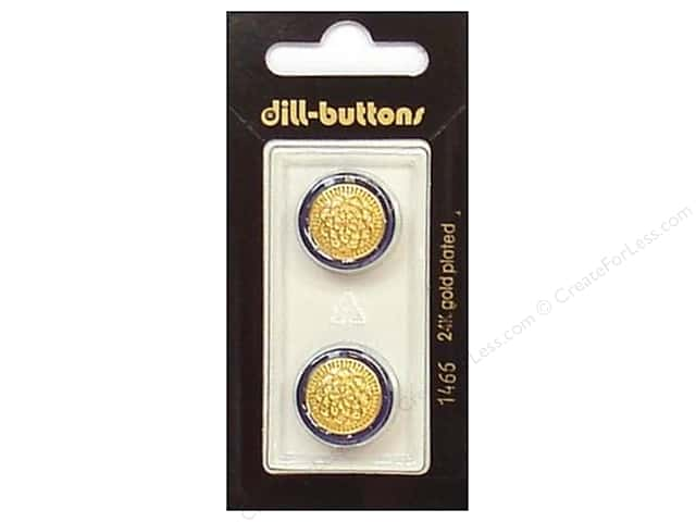 Dill Shank Buttons 11/16 in. Blue/Gold Metal #1466 2pc.