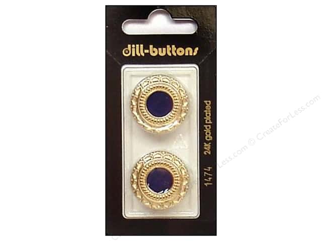 Dill Shank Buttons 7/8 in. Enamel Navy/Gold #1474 2pc.