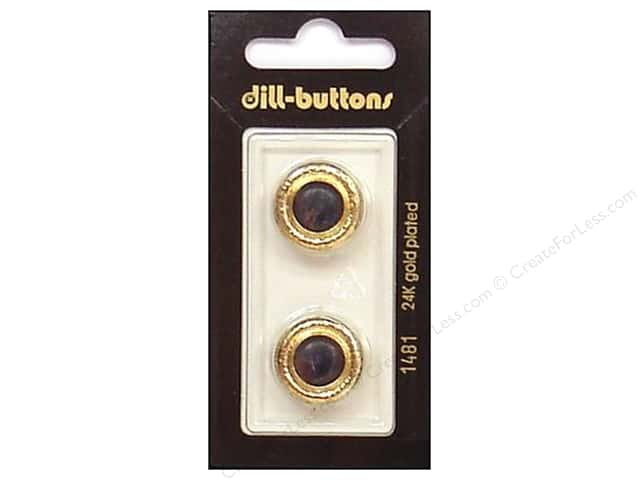 Dill Shank Buttons 11/16 in. Navy/Gold Metal #1481 2pc.