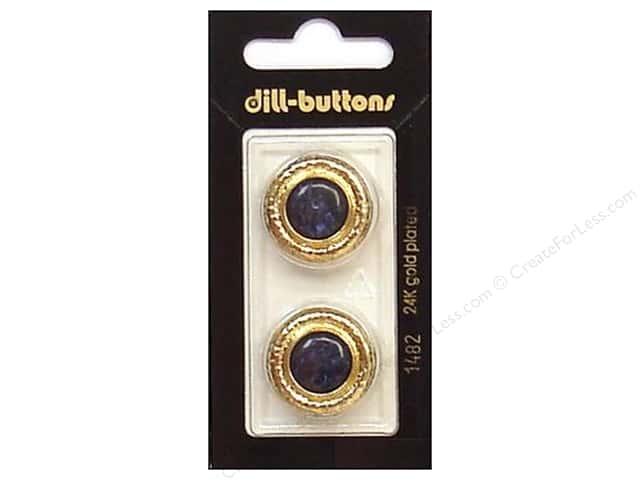 Dill Shank Buttons 7/8 in. Navy/Gold Metal #1482 2pc.