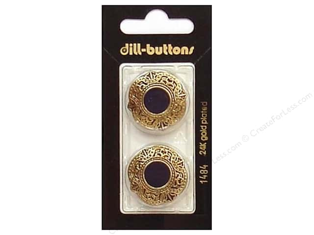 Dill Shank Buttons 1 in. Enamel Navy/Gold #1484 2pc.