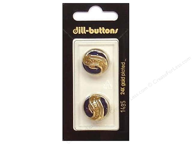 Dill Shank Buttons 11/16 in. Enamel Navy/Gold #1485 2pc.