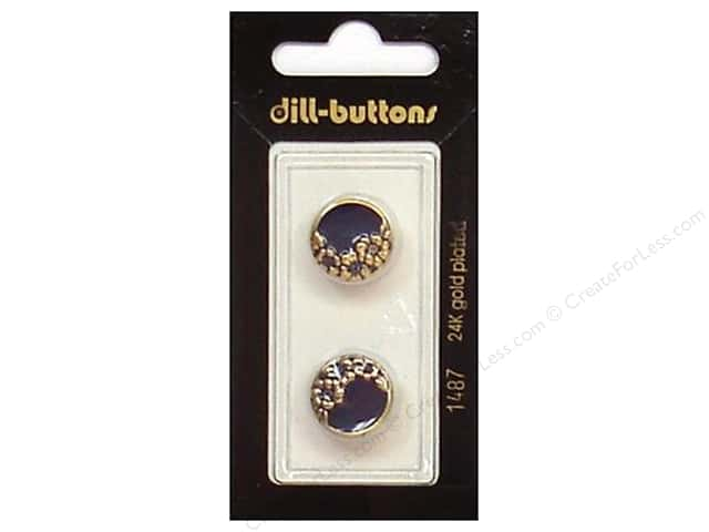 Dill Shank Buttons 5/8 in. Enamel Navy/Gold #1487 2pc.