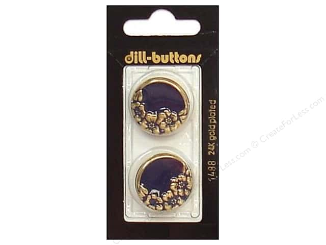 Dill Shank Buttons 7/8 in. Enamel Navy/Gold #1488 2pc.