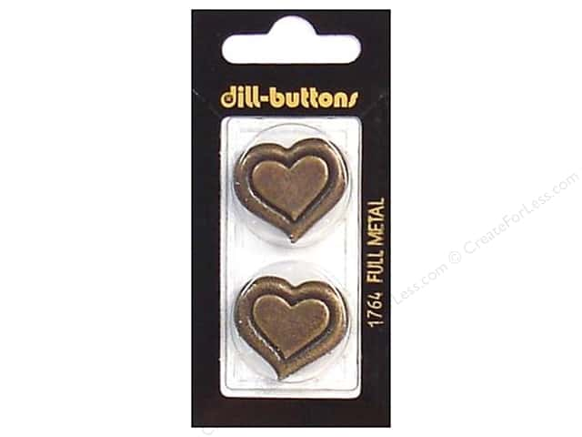 Dill Shank Buttons 1 in. Antique Gold Metal Heart #1764 2pc.