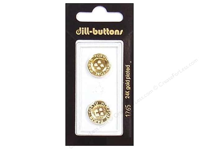 Dill 4 Hole Buttons 5/8 in. Gold Metal #1765 2pc.