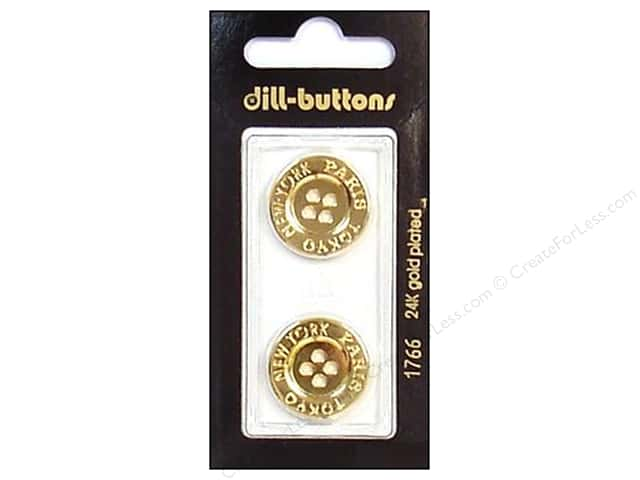 Dill 4 Hole Buttons 13/16 in. Gold Metal #1766 2pc.