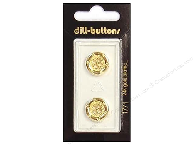 Dill 4 Hole Buttons 5/8 in. Gold #1771 2pc.