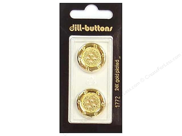 Dill 4 Hole Buttons 13/16 in. Gold #1772 2pc.