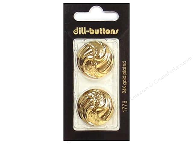 Dill 2 Hole Buttons 1 in. Gold #1778 2pc.