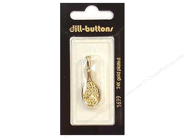 Dill Shank Buttons 5/8 in. Gold Tennis Racket #1699 1pc.