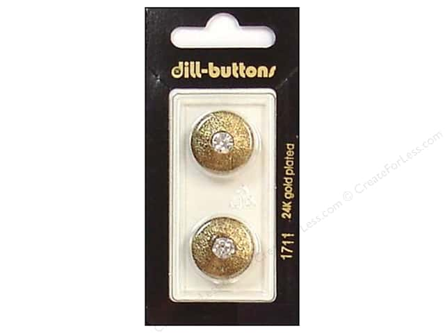 Dill Shank Buttons 11/16 in. Rhinestone Antique Gold #1711 2pc.