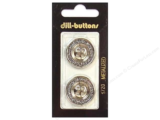 Dill 4 Hole Buttons 7/8 in. Silver #1720 2pc.