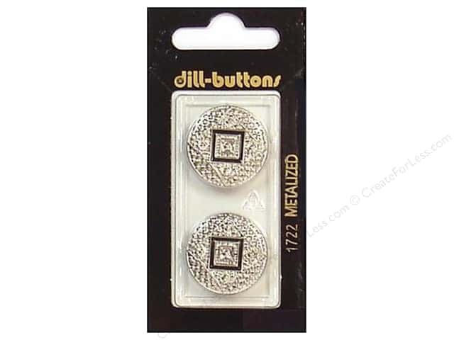 Dill Shank Buttons 7/8 in. Enamel Silver #1722 2pc.