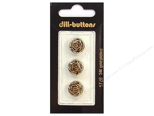 Dill Shank Buttons 9/16 in. Antique Gold Rose #1728 3 pc.