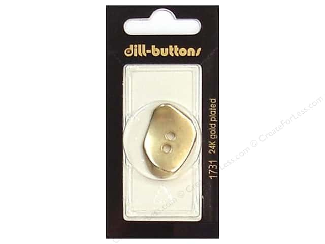 Dill 2 Hole Buttons 1 1/4 in. Matte Gold Metal #1731 1 pc.