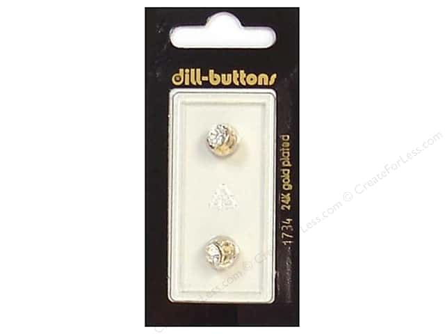 Dill Shank Buttons 5/16 in. Rhinestone Gold #1734 2pc.