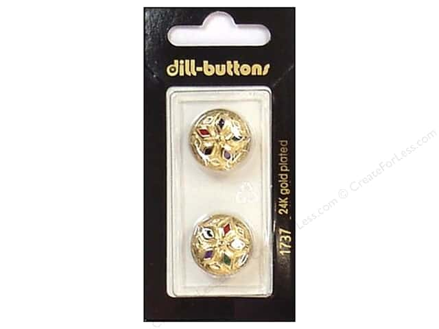 Dill Shank Buttons 11/16 in. Enamel Gold Multicolor #1737 2pc.