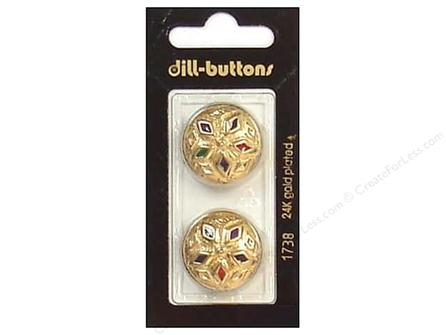 Dill Shank Buttons 7/8 in. Enamel Gold Multicolor #1738 2pc.
