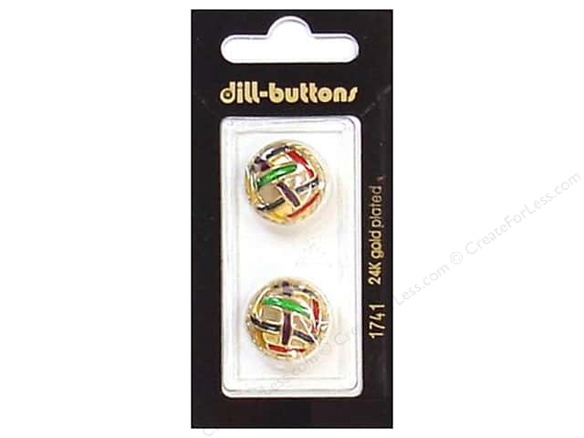 Dill Shank Buttons 11/16 in. Enamel Gold Multicolor #1741 2pc.