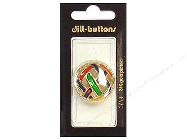 Dill Shank Buttons 1 1/8 in. Enamel Gold Multicolor #1743 1pc.