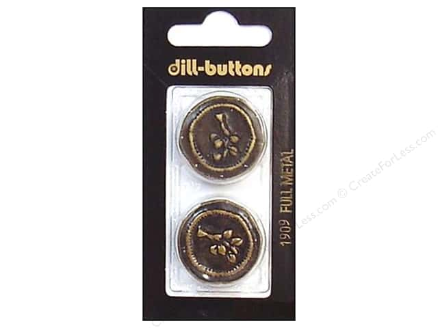 Dill Shank Buttons 1 in. Antique Brass Metal #1909 2pc.