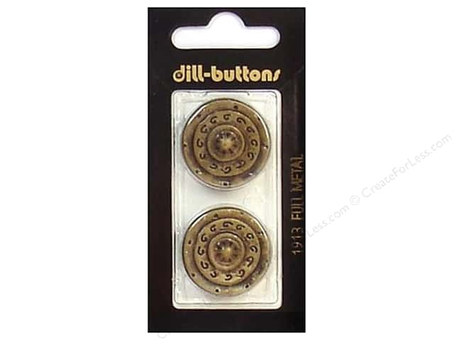 Dill Shank Buttons 1 in. Antique Brass Metal #1913 2pc.