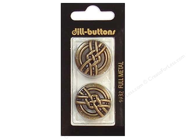 Dill Shank Buttons 1 in. Antique Brass Metal #1932 2pc.