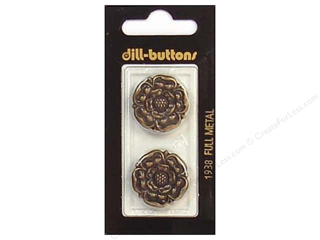 Dill Shank Buttons 7/8 in. Antique Brass Metal #1938 2pc.