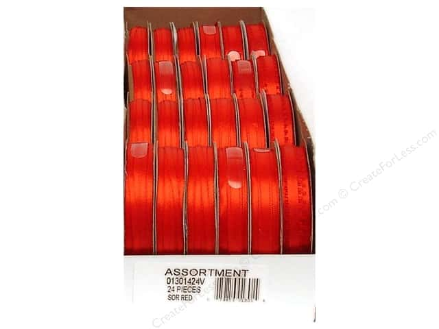 Offray Spool-O-Ribbon Double Face Satin Red