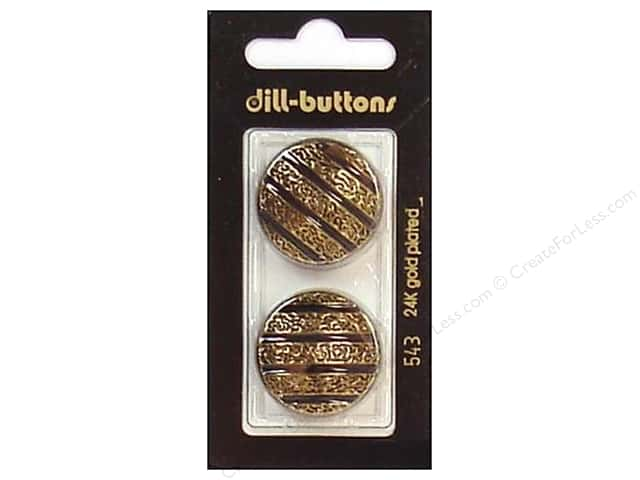 Dill Shank Buttons 1 in. Enamel Black/Gold #543 2pc.
