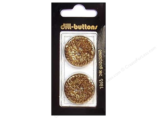Dill 2 Hole Buttons 1 in. Antique Gold #1865 2pc.